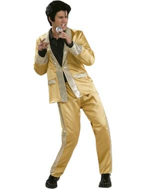 Elvis guldfarvet kostume deluxe til mænd