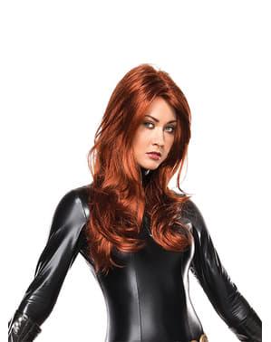 Peruka Czarna Wdowa proste włosy damska