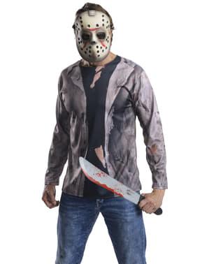 Set Maskeraddräkt Jason Fredag den 13e med machete för vuxen