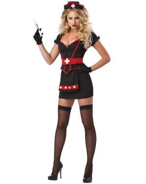Verpleegster kostuum in zwart