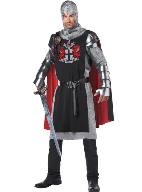 Fato de cavaleiro medieval valente para homem