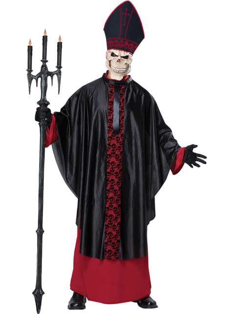 Fato de sacerdote de missa negra para homem
