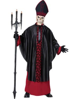 Disfarce de sacerdote esqueleto para homem