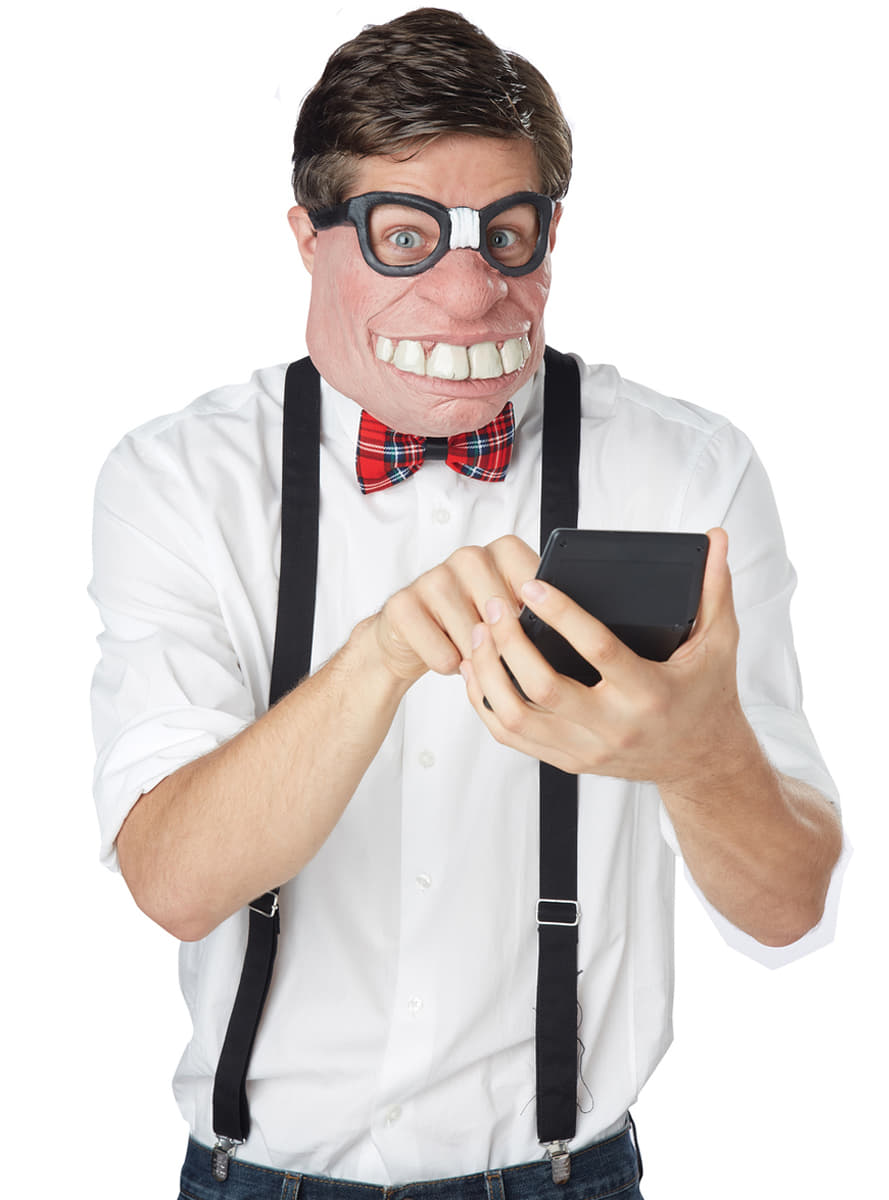 Funny Half Face Nerd Geek Mask Fancy Dress Wally Glasses Costume Accessory