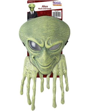 Kit máscara y manos de alien para niños