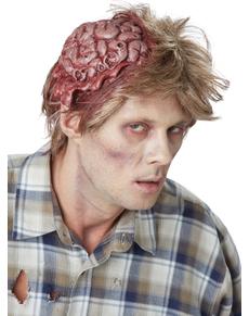 Peluca con cerebro zombie para hombre