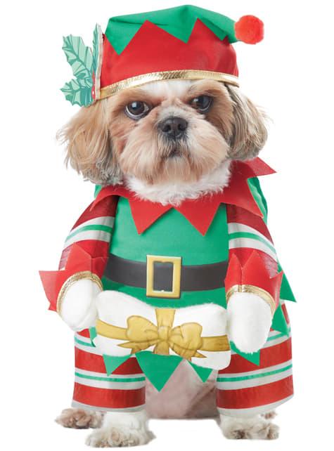 Disfraz de elfo navideño travieso para perro