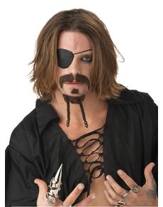 Kit perilla y bigote de pirata intrépido para hombre