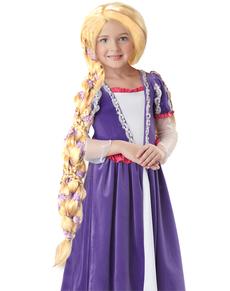 Peluca de princesa rubia y larga para niña