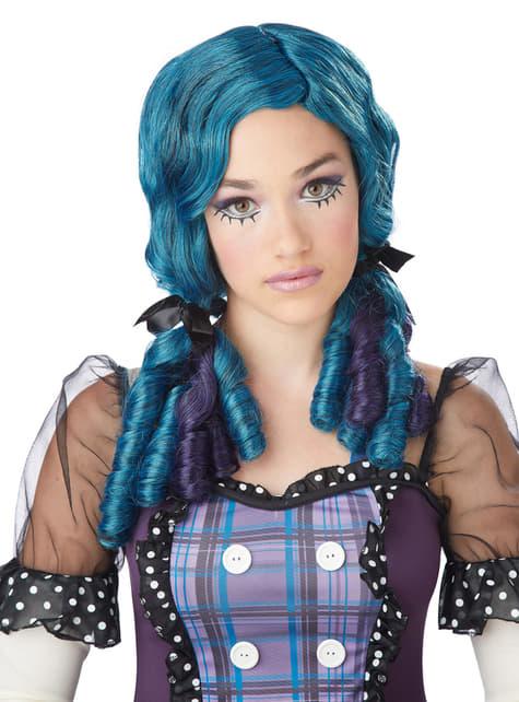 Peluca de muñeca con tirabuzones verde azulada