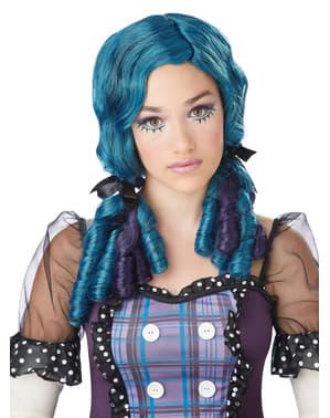 Costume da bambola con riccioli tirabaci bluastra