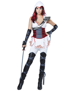 Disfraz de asesina ninja blanca para mujer
