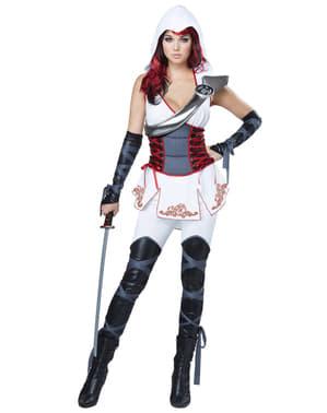 Costum de asasină ninja alb pentru femeie