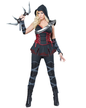 Svart Ninja Snikmorder Kostyme Dame