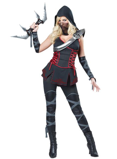 Disfraz de asesina ninja negra para mujer