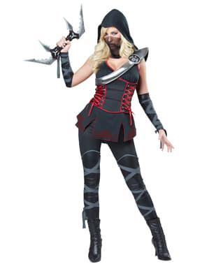 Schwarzes Ninja Mörderin Kostüm für Damen