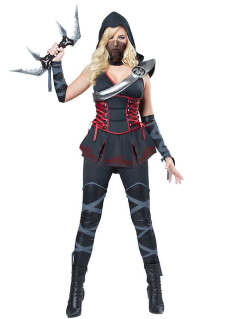 Fato de assassina ninja negra para mulher