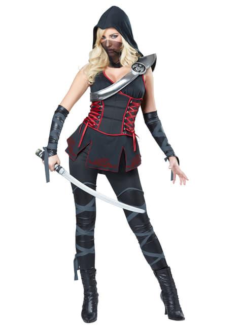 Kostium morderca ninja czarny damski