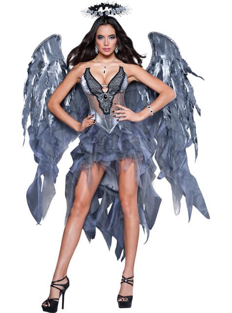 Disfraz de ángel caído deluxe para mujer