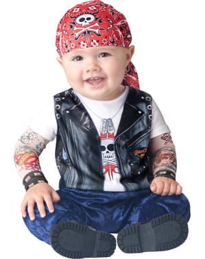Fato de motoqueiro adorável para bebé