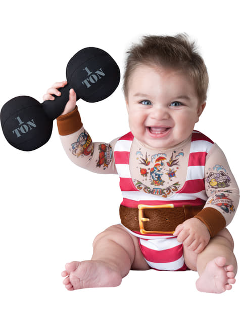 Disfraz de forzudo de circo para bebé