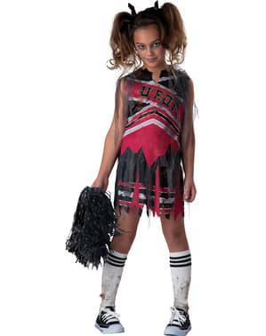 Zombie-Cheerleaderin Kostüm mit Puschel für Mädchen
