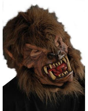 Máscara de hombre lobo marrón para adulto