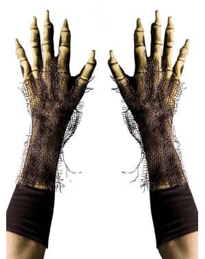 Harige skelet handschoenen voor volwassenen