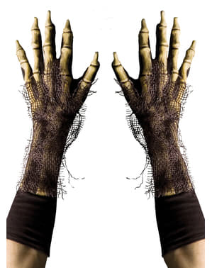 Luvas de esqueleto peludo para adulto