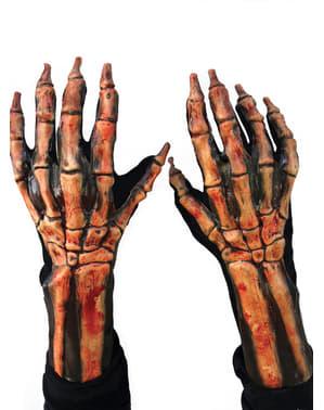 Luvas com mãos de esqueleto para adulto