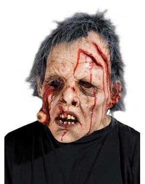 Zombie Maske mit heraushängendem Auge für Erwachsene