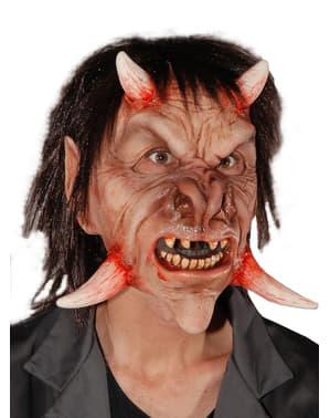 Máscara de demónio dos 4 cornos para adulto
