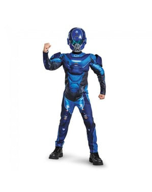 Chlapecký kostým svalnatý Spartan Halo modrý