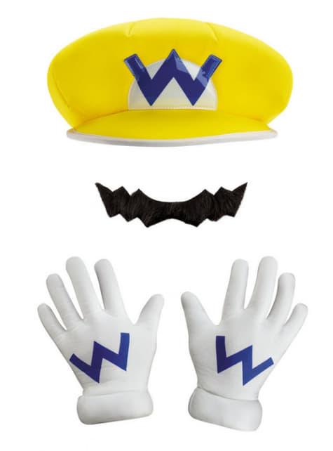 Wario Mütze, Handschuhe und Schnurrbart für Jungen