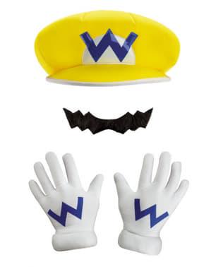 Wario kasket, handsker og overskæg til børn