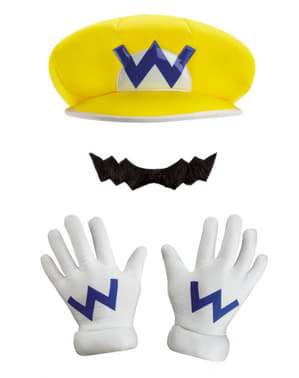 Warios Hat, gloves and moustache for Kids
