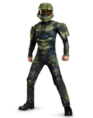 Chlapecký kostým s vyrýsovanými svaly Master Chief Halo