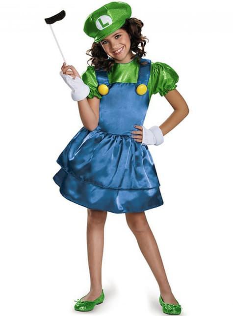 Girl's Sparkly Luigi Costume