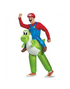 Fato insuflável de Mario Bros em cima de Yoshi para adulto