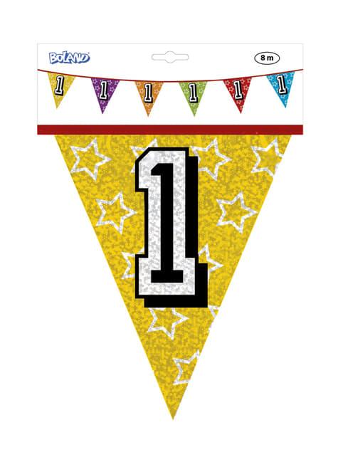 Banderines con número 1 - para tus fiestas