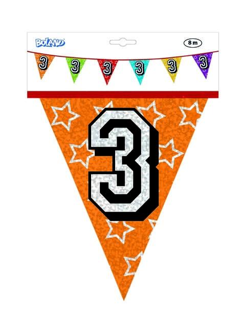 Bandeirolas com número 3