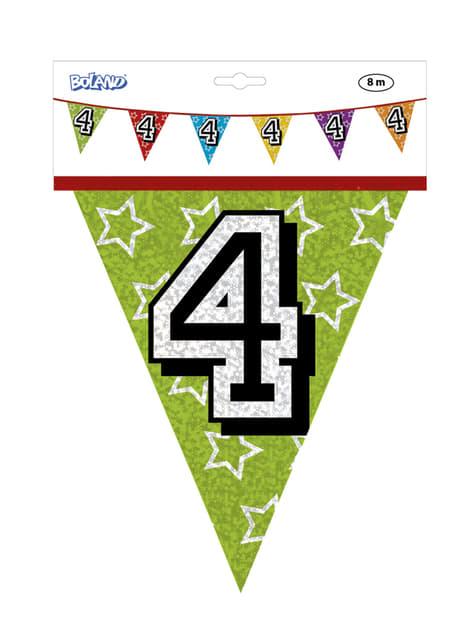 Banderines con número 4 - para tus fiestas