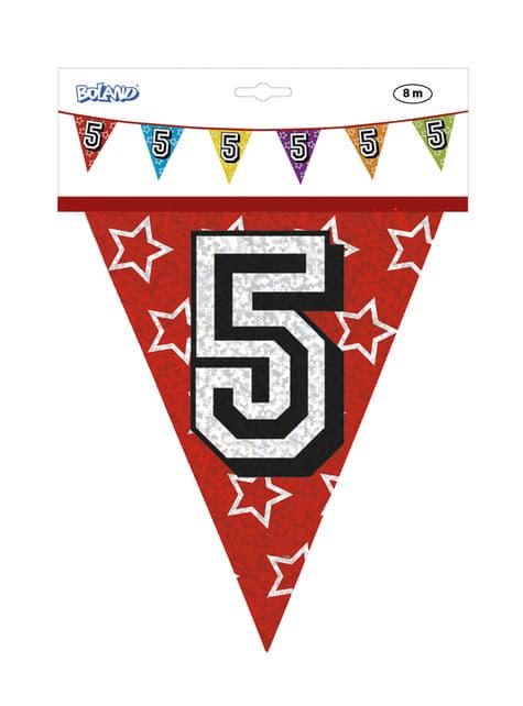 Bandeirolas com número 5