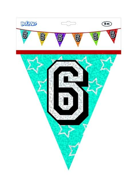 Bandeirolas com número 6