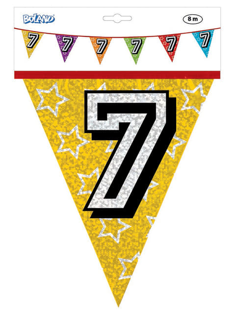 Banderines con número 7 - para tus fiestas