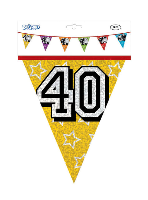 Banderines con número 40 - para tus fiestas