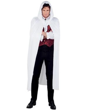 Witte cape met capuchon voor volwassenen