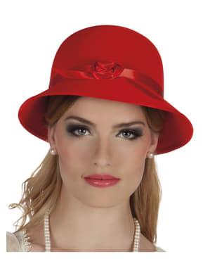 Chapéu dos anos 20 vermelho para mulher