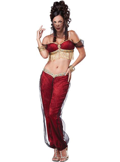 Fato de bailarina oriental vermelho para mulher