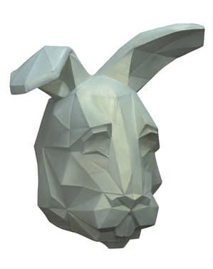 Würfelförmige Hasen Maske weiß für Erwachsene